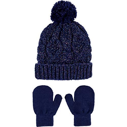 Carter's Girls Pom Pom Hat Mitten Glove Set (Navy/Mitten, 0-9 Months)