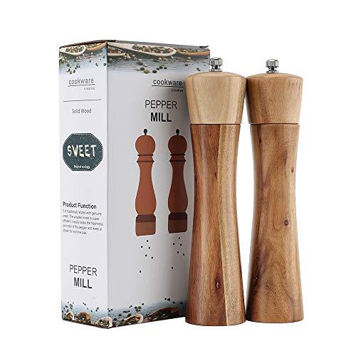Digralne Pfeffermühlen Aus Holz Salz Und Pfeffer Mühle Gewürzmühle Salzmühle Aus Holz Manuelle Salzmühle Mit Einstellbarer Keramikmahlwerk Gewürzmühle (2 Stück)