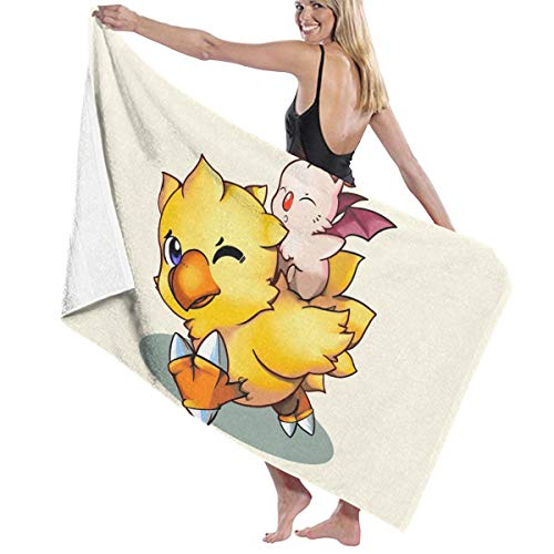 Zachary Sherman Final Fantasy Mog And Chocobo - Toalla de baño antibacteriana de alta calidad, 130 x 80 cm