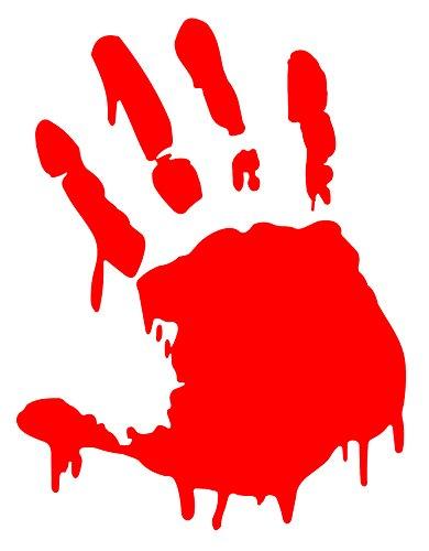 BLOODY ZOMBIE HAND PRINT(Right Hand) - 5.5' RED (IKON SIGN ORIGINAL) - Vinyl Decal WINDOW Sticker - NOTEBOOK, LAPTOP, WALL, WINDOWS, ETC.