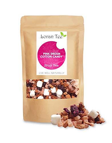 LORAN - Früchtetee mit Zuckerwatte-Himbeere Cotton Candy, Pink Dream, lose 200g, lila Drachenfruchtwürfel, Marshmallows,Himbeerstücke, für Kinder und schwangere geeignet