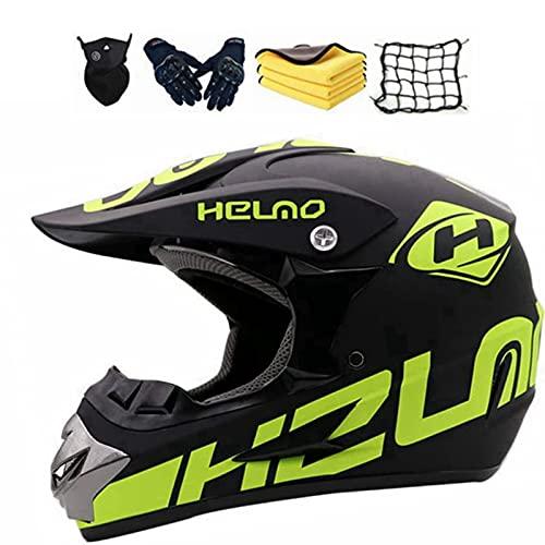 Motocross Helm Set,Motorrad Crosshelm,Fullface Kinder Erwachsene Fahrrad Enduro Downhill MTB BMX Off Road ATV Crosshelm Fullface Set mit Visier Brille Handschuhe Maske (D)