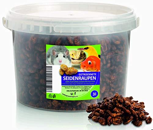 UGF - Premium Seidenraupen getrocknet 3 Liter Eimer, Koi Futter & Fischfutter Teichfische, Insekten Futter für Fische, Vögel, Hamster, Igel, Nager, Eidechsen, Schildkröten