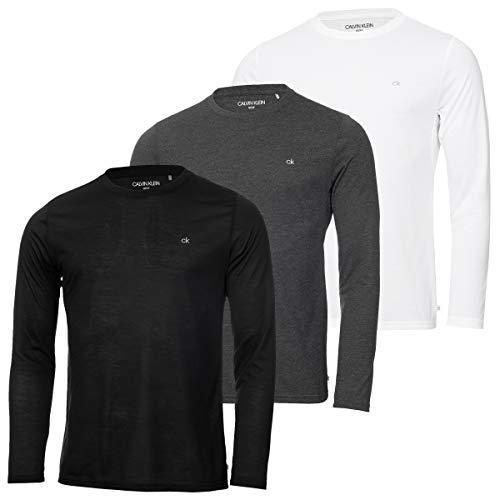 Calvin Klein Hommes Manches Longues 3 Pack T-Shirt - Noir/Charcoal - XL