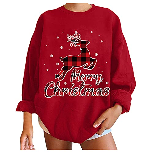 Christmas Sweatshirt for Women Oversized Graphic Casual Crewneck Pullover Tops Shirt Blouse Fall Winter ( XXL,Red-Xmas )