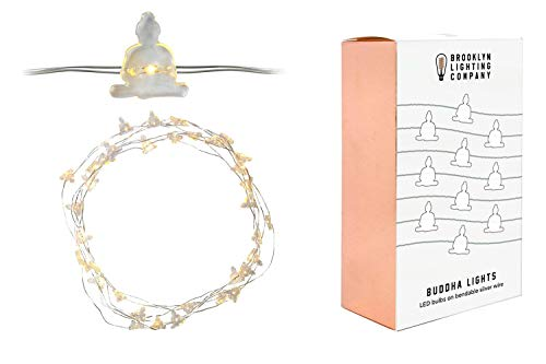 Brooklyn Lighting Company 12 Foot LED Wire Lights Strip with 36 Seated Buddha Shaped Bulbs Battery Operated String Lights (12FT, Seated Buddha)