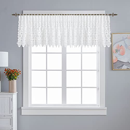 """GLDsHOMES Floral Lace Sheer Crochet Curtain 2 Panel Cafe Curtain Sheer Window Treatments Embroideried Flower Kitchen Curtains 26"""" x 18"""", Lace Flower 3"""