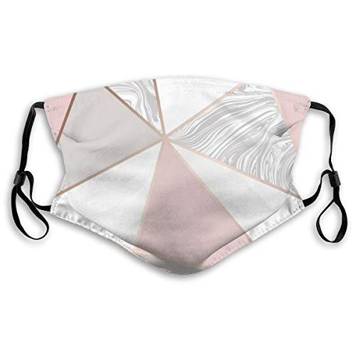 Protección bucal ajustable con filtro geométrico rosa oro rosa mármol anti polvo cara cómoda para niños adultos