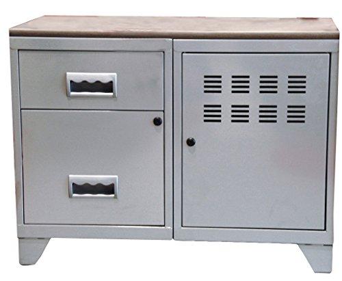 Opbergkast, 1 deur en 2 laden met plaat van MDF, aluminium.