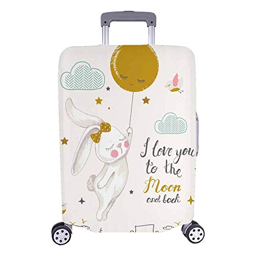 InterestPrint Bunny I Love You To The Moon and Back Travel Luggage Cover Baggage Suitcase Protector for 26'-28' Luggage