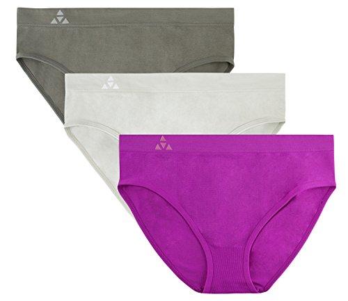 Balanced Tech Women's 3 Pack Classic Seamless Hipster Brief Bikini Panties - Mulberry Group - Large