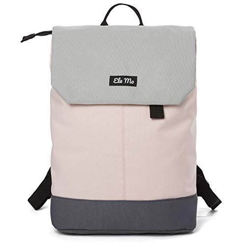 Ela Mo Rucksack Damen - Schön u. Durchdacht - Daypack mit Laptopfach & Anti Diebstahl Tasche für Ausflüge, Uni, Schule u. Büro (Rose on Rocks)