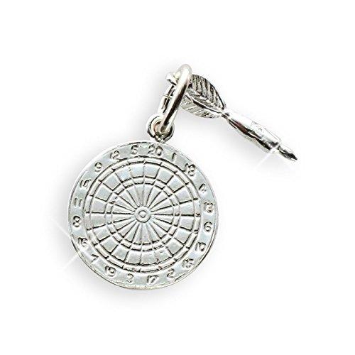 Darts Scheibe & Pfeil Anhänger Durchmesser 15mm Sterling Silber 925 (Art. 207001)