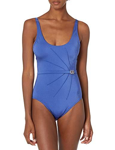 Calvin Klein Women's Belted Starburst One Piece Swimsuit, Violet Shimmer, 12