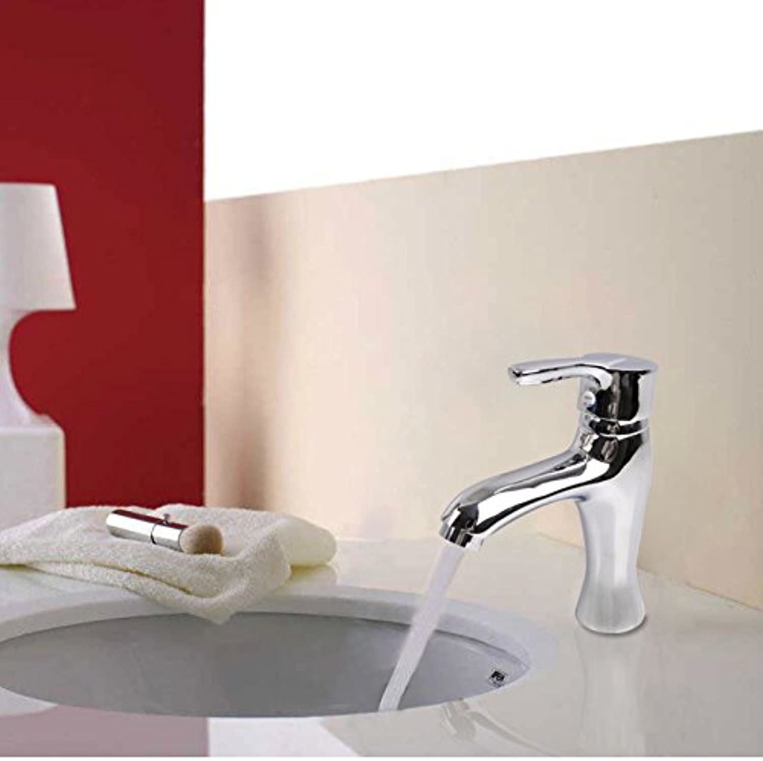 FORTR HOME Copper single handle double hole faucet hot and cold basin faucet ceramic valve core