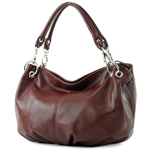 modamoda de - IT40 - ital. Damentasche aus Nappaleder/Leder, Farbe:Kastanie