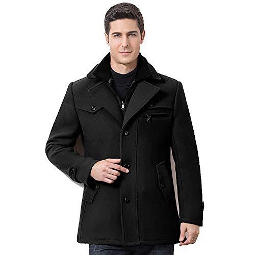 YKARITIANNA Men's Warm Coat, Super Comfy Winter Thickened Warm Woolen Coat Solid Turn Down Collar Business Casual Trench Coat