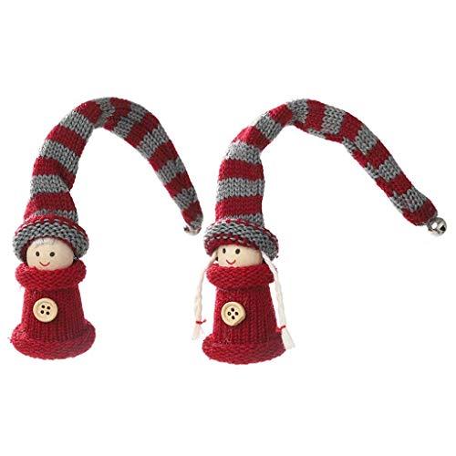 Decoraties om op te hangen, Kerstmis, schattige pop met lange hoed, gebreid, decoratie van het huis, hangende decoratie, pluche pop, hanger voor op het bureau, kerstcadeau, 2 stuks M 50 hojas