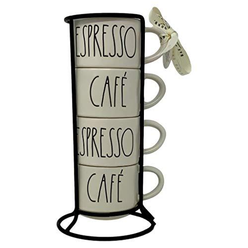 RAE DUNN stapelbare Espresso-, Café-Kaffeetassen – Artisan-Kollektion von Magenta – ein Set von 4 Espresso, Cappuccino, Latte große Kaffeetassen – perfekte Ergänzung zu Ihrer Rae Dunn Küchendekoration