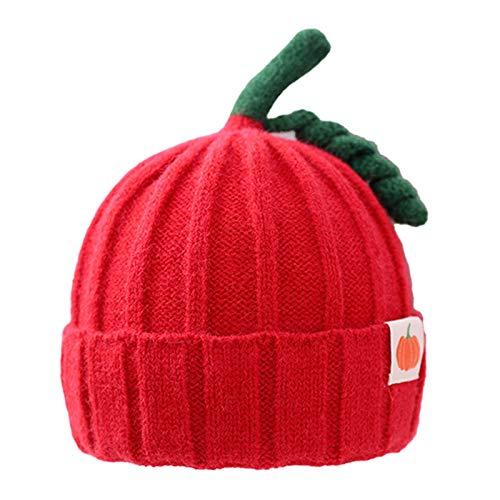 NIDAYE Gorro de punto para bebé con patrón de calabaza, para invierno, de ganchillo, gorro de punto (rojo)