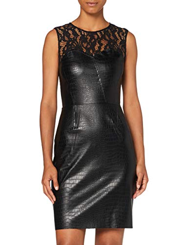 Morgan Damen Robe Simili Cuir Crocodile Empiècement Dentelle Romali Lässiges Abendkleid, Schwarz, T42