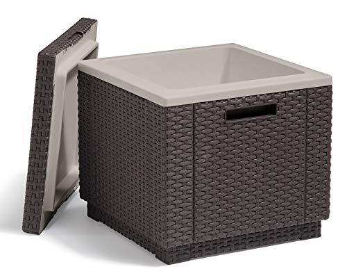 Keter Ice Cube Beer and Wine Cooler Table Perfect for Your Patio, Picnic, and Beach Accessories, Brown