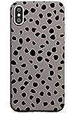 Case Warehouse Negro sobre Manchas de Color Gris dálmata del Lunar Slim Funda para iPhone XR TPU Protector Ligero Phone Protectora con Lunares Brillante Elegante