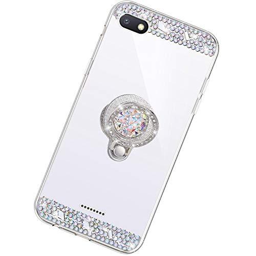 Funda Compatible con Xiaomi Redmi 6A.Espejo Glitter Diamante Anillo Soporte Brillo TPU Transparente Silicona Suave Carcasa Cover Mirror Bling Moda Ultrafino Protective Bumper Case,Plata