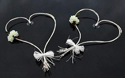 Autoschmuck ROMANTISCHE Herzen Auto-schmuck Braut Paar Rose Deko Dekoration Hochzeit Car Auto...