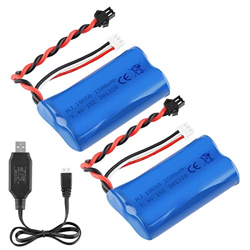 Sirecal 2PCS 7.4V 1500mAh Li-Ion Batería 15C SM Plug Batería Recargable con Cargador de Batería USB para RC Car Boat Repuestos Accesorios