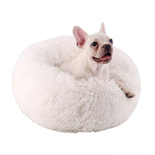 YLCJ Hondenbed Rond of ovaal grotbed voor stapelbedden om in diepte te slapen, Zacht donutbed in zacht bont Comfortabel om in de winter te slapen, voor honden en katten (Kleur: wit, Afmetingen: 80 cm), 70cm, Kleur: wit