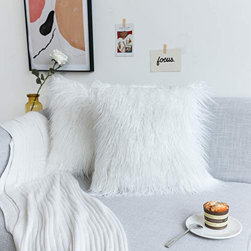 Kevin Textile Set of 2 Decorative New Luxury Series Merino Style Christmas Off-White Fur Throw Pillow Case Cushion Cover Pillow Cover for Bed, 20'x 20'(50x50cm)
