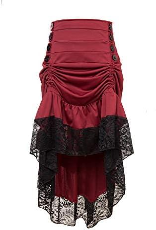 Dainzuy Ladies Sweet Adjustable Ruffle High Low Gothic Skirt Plus Size Steampunk Corset Skirt Long Dress for Women