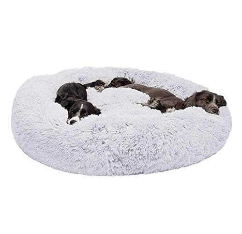 KongEU Gemütlich Hundebett für große Hunde,weich und warm,groß,Rundes Hundekissen mit kuscheligem Plüsch,Orthopädisch und rutschfest,Hundekörbchen abwaschbar-XXL-120CM-Grau