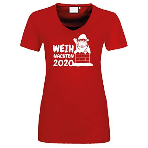 Fun Damen T-Shirt Weihnachten 2020 Kamin Nikolaus Weihnachstmann Santa Claus Christmas rot XL