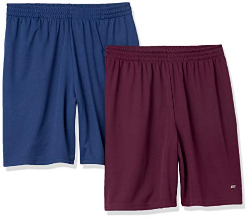 Amazon Essentials Men's 2-Pack Loose-Fit Performance Shorts, Burgundy/Navy, X-Large