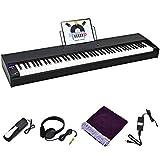 costway pianoforte digitale 88 tasti pesati, pianola tastiera elettronica, con cuffie e pedale di risonanza, funzione midi e bluetooth, nero