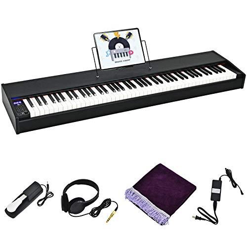 COSTWAY Digitalpiano Klavier mit 88 gewichteten Tasten, Elektrisches Keyboard Klaviertastatur mit Netzteil, Kopfhörer, eingebautem Lautsprecher, Notenständer, Pedal, MIDI & Bluetooth-Funktion