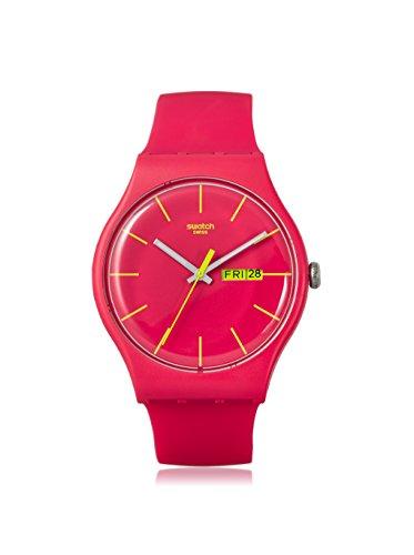 Swatch SUOR704 - Reloj analógico de cuarzo con correa de plástico, color rosa