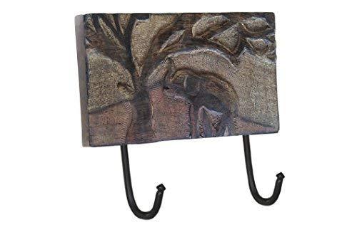 storeindya Ganci da parete in legno rustico Cappotto multiuso Cappellino portachiavi Sciarpa Borse...