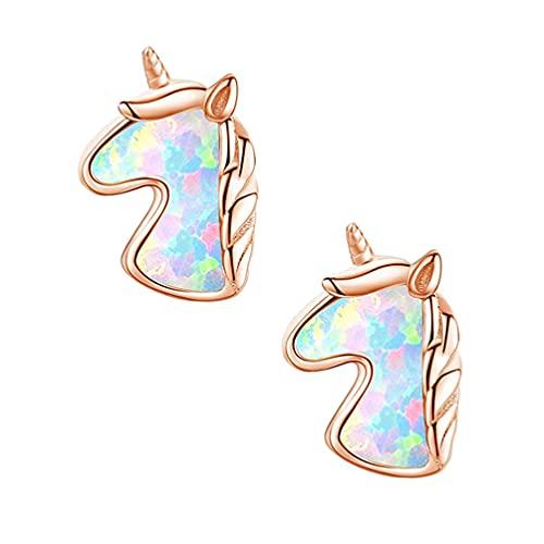 Happyyami 1 par de Aretes de Unicornio Pendientes de Botón Pendientes de Ópalo Lindos Regalos de Unicornio para Las Mujeres Hija Regalo de Cumpleaños