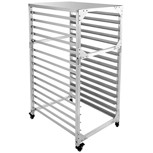 "Bun Pan Rack Bakery Rack 15-Tier 26"" Lx20 Wx55 H Aluminum Kitchen Bakery Cooling Rack w/Cover for Commercial Restaurant & Bakery & Cafeteria & Home Use"
