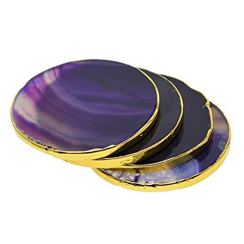 freneci 4X Geoda Pulida De Cristal con Borde Dorado De ágata para Decoraciones Caseras Coaster Coas