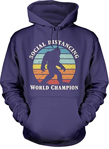 TABOO Social Distancing World Champion Bigfoot Retro Coronavirus COVID-19 Hoodie Purple Men Women Large