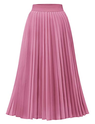 DRESSTELLS Damen Plissee Rock Chiffon Casual Strandrock Maxi Langer Faltenrock Pink XL