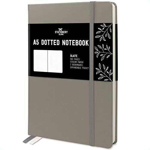 Stationery Island Cuaderno Punteado A5 – Pizarra. Bullet Journal de Tapa Dura Con 180 Páginas y Papel Premium de 120gsm