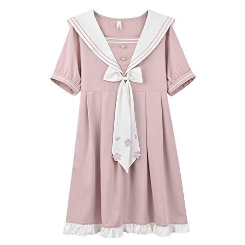 TSP Vestido de mujer con cuello marinero 2021 con mangas abombadas para niña, color blanco, rosa, rosa, talla S)