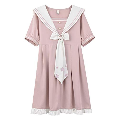 XKMY 2021 Sailor Collar manga abullonada niña blanco rosa vestido de flores Harajuku Kawaii Vintage Cosplay Lolita Ropa mujer playa vestido elegante (color: rosa, tamaño: S)