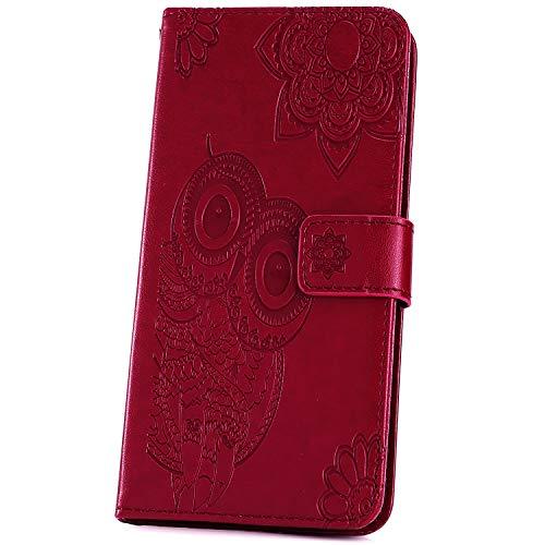 JAWSEU Kompatibel mit Samsung Galaxy A50 Hülle Leder Flip Case Tasche Eule Mandala Wallet Handyhülle Brieftasche Schutzhülle Handytasche Magnetisch Kartenfach Ständer Etui für Galaxy A50, Rot
