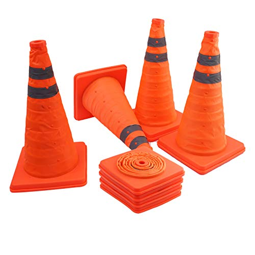 4 Pack 18 inch Collapsible Traffic Cones, Portable Multi Purpose Orange Reflective Safety Cone